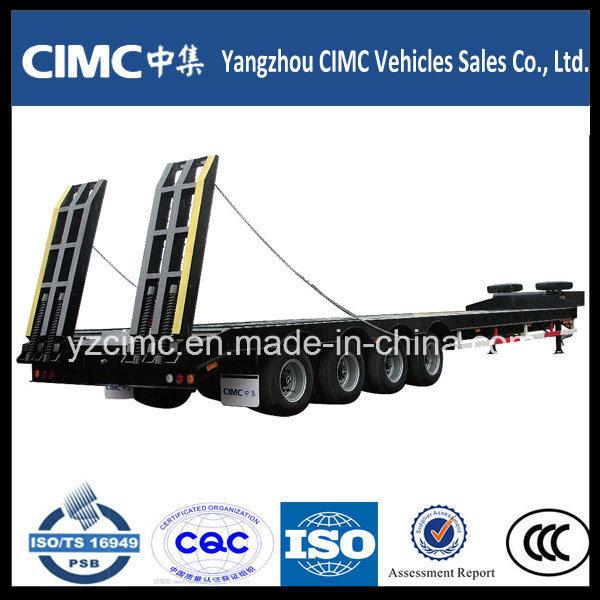 Cimc Heavy Duty 4 Axles Gooseneck Detachable Type Front Load Low Bed Truck Trailer for Sale