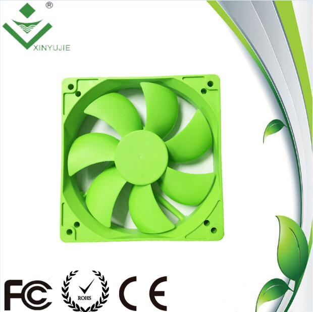 120*120*25mm DC Cooling Fan Made in China 2016 Hot Selling Green Color Plastic Fan