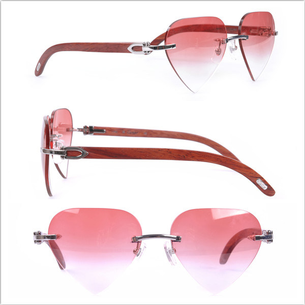 Wooden Arms/ Heart Shape / Pink Color Lens Glasses