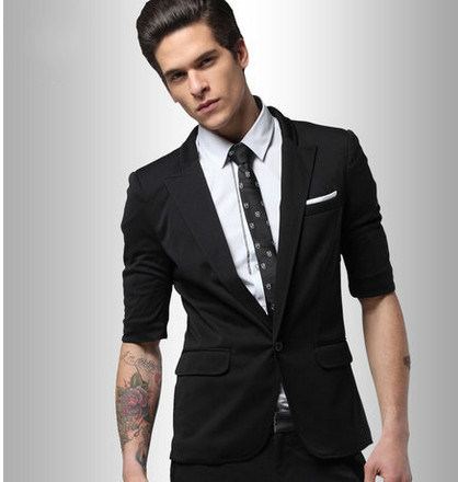 China New Style Men′s Short -Sleeve Black Slim Fit Suit Photos
