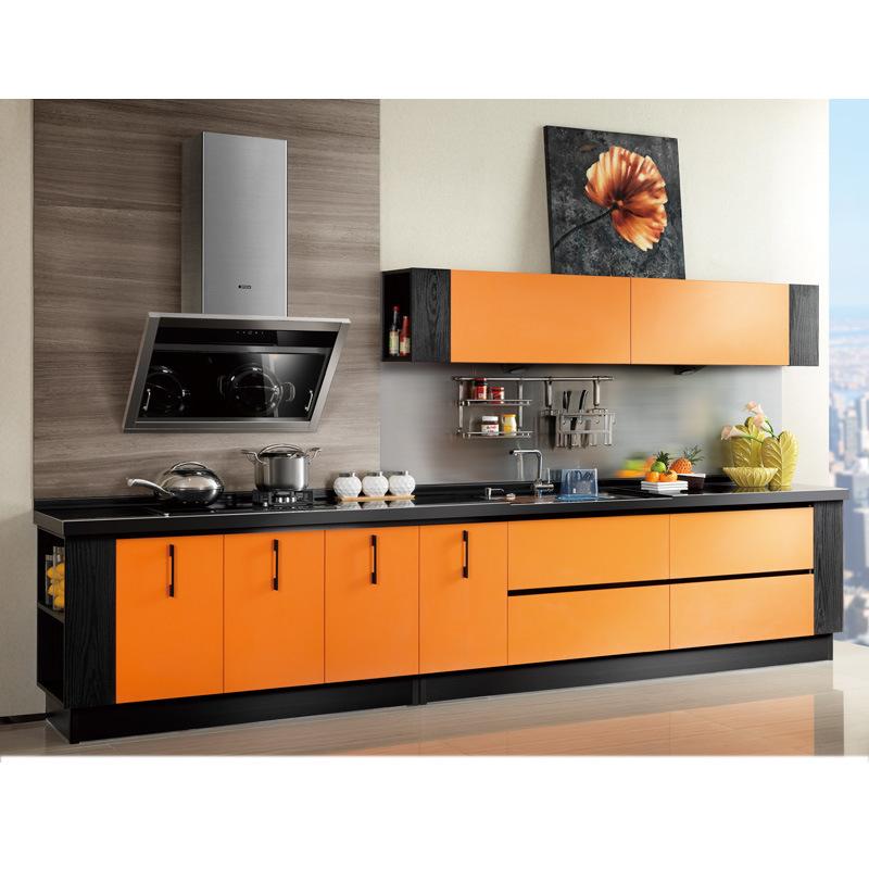 orange laminate single wall kitchen cabinet op12 l053