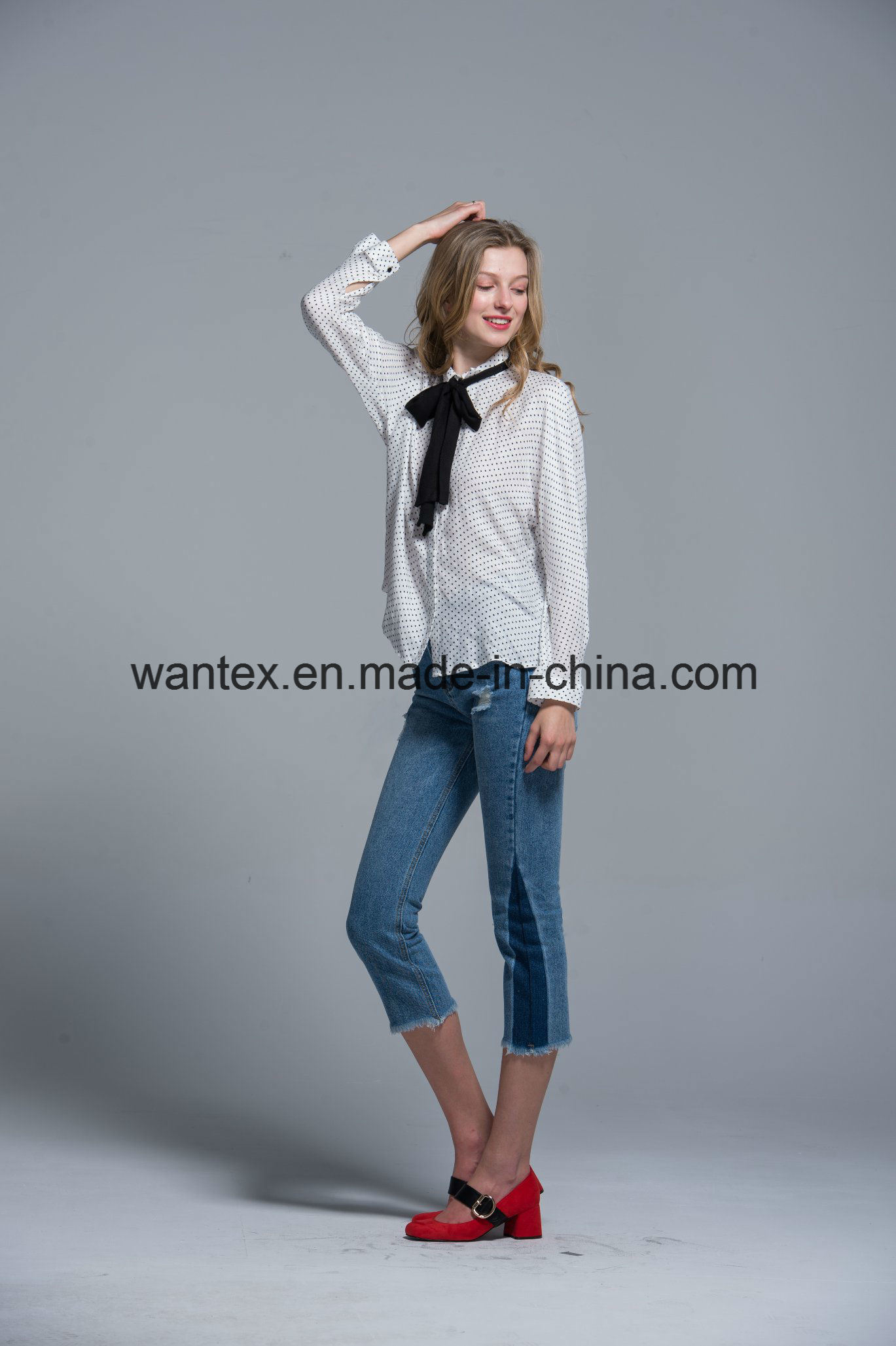 Ladies Blouse 100% Polyester Irregular Fashion Shirt Fashion Top Spring Autumn Girl