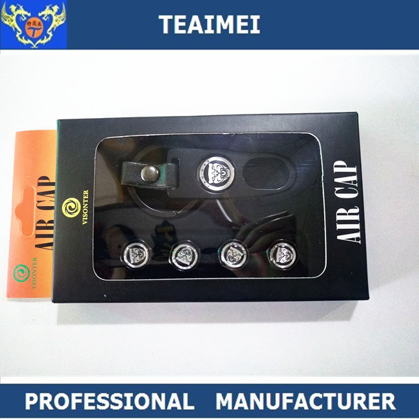High Quality Car Logo Car Tire Valve Dust Cap with Keychains Black