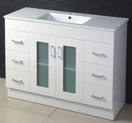 glass door 1200mm mdf bathroom vanity white color china