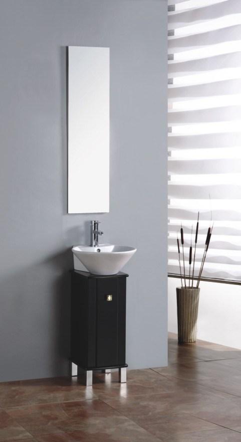 China Small Black Floor Bathroom Cabinet Vanity Washbasin