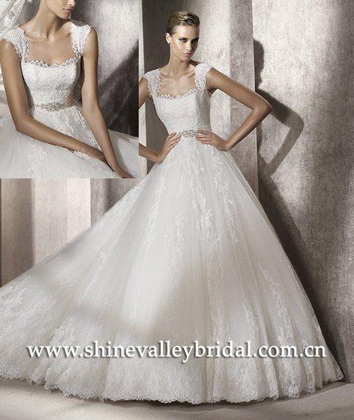 China Short Sleeve Lace Ball Skirt Wedding Dresses PV347 China Wedding Dr