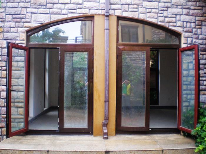 China solid oak wood thermal break aluminium french doors for Solid wood french doors