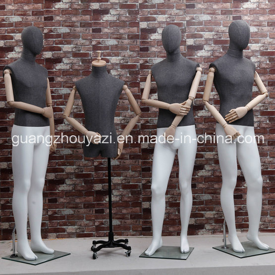 Fabric Wrapped Male Mannequin with Wooden Arm