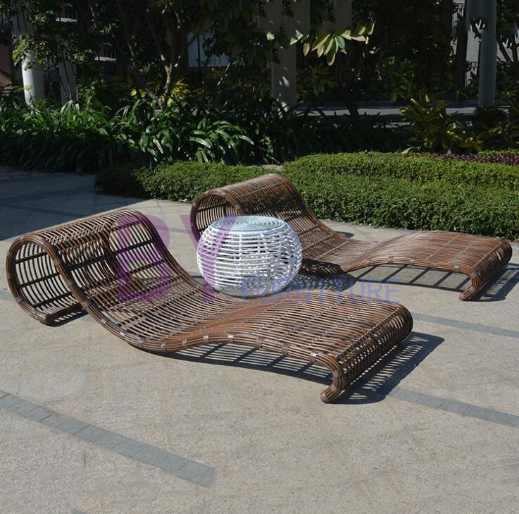 by-495 Wholesale Thick Rattan High-Grade Comfortable Rural Beach Lounge