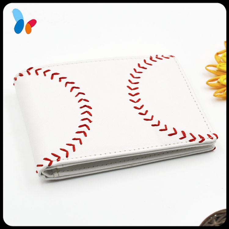 Red Baseball Seam Stitched Card Holder Wallet Men Leather Wallet