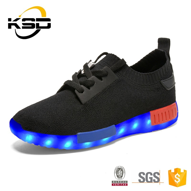 Kid Sneaker LED Light up Shoes Flyknit Shoe Light for Children
