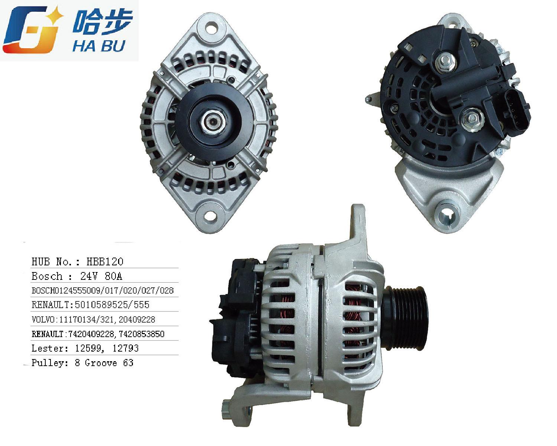 AC/ Auto Alternator for Volvo 24V 80A 0124555009, 0-124-555-017