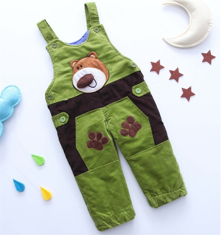 P11210 Winter Baby Boys/Girls Pants Kids 5 Colors Bear Quilted Corduroy Straps Children Fashion Pants for Wholesale