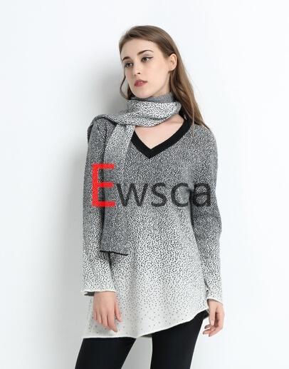a/B Intarsia V Neck Slant-Cut Bottom Pure Cashmere Knitwear