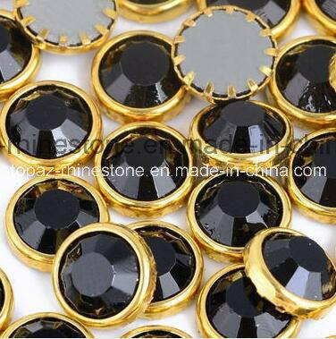DMC Hotfix Rhinestone Ss16 4mm Black Aluminun Rim Hot Fix Stones with Glue for Dress (SS16 Jet/A Grade)