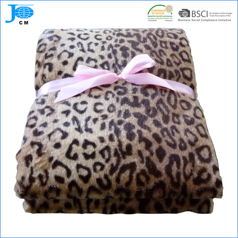 100% Polyester Super Soft Leopard Printed Design Flannel Fleece Blanket