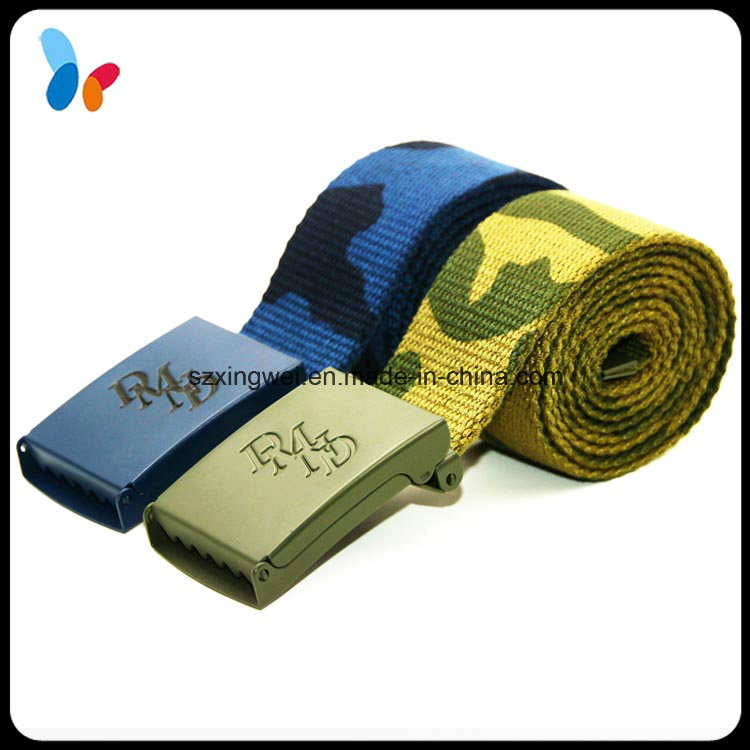Custom Fabric Belts Navy Blue Military Belts with Logo Buckle