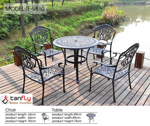 Cast Aluminum Modern Bistro Set Patio Furniture