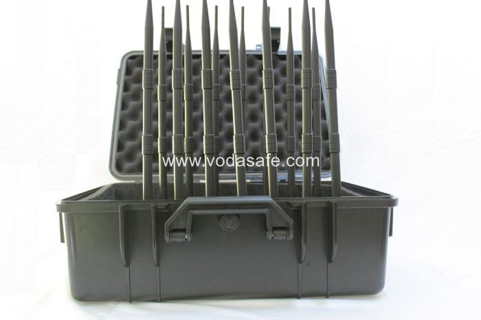 14 Antenna 3G 4G Cellular Jammer for Lojack Wi-Fi+Remote Control 433 315 868 +GPS +VHF/UHF Radio+Lojack Cellphone Signal Wireless GSM Jammer with Brifecase