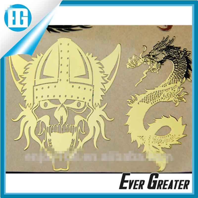 Hot Sale Art Decals Adhesive Golden Waterproof Metal Logo Sticker