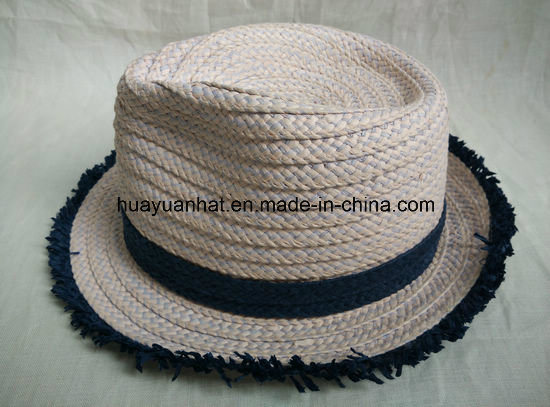 Mixed Color Paper Braid Fedora Straw Hat