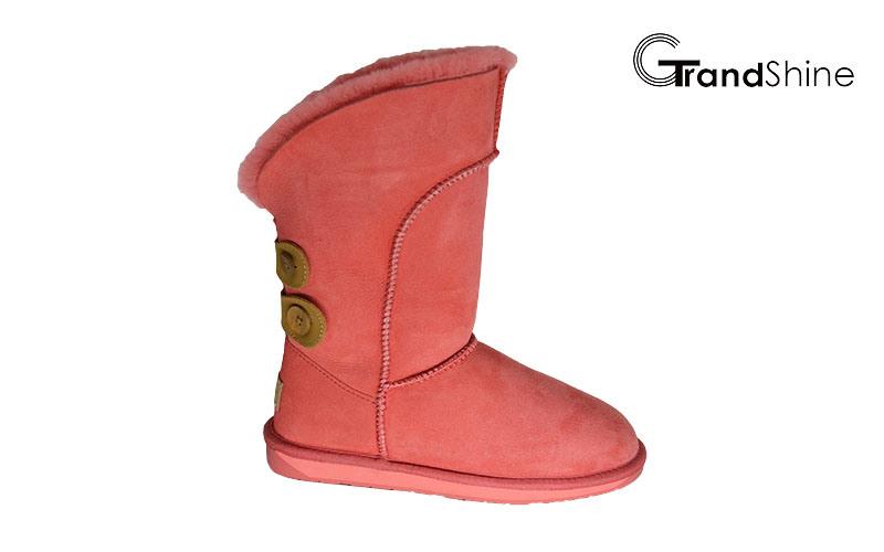 Sheepskin Women′s New Arrival Snow Boots with Belt