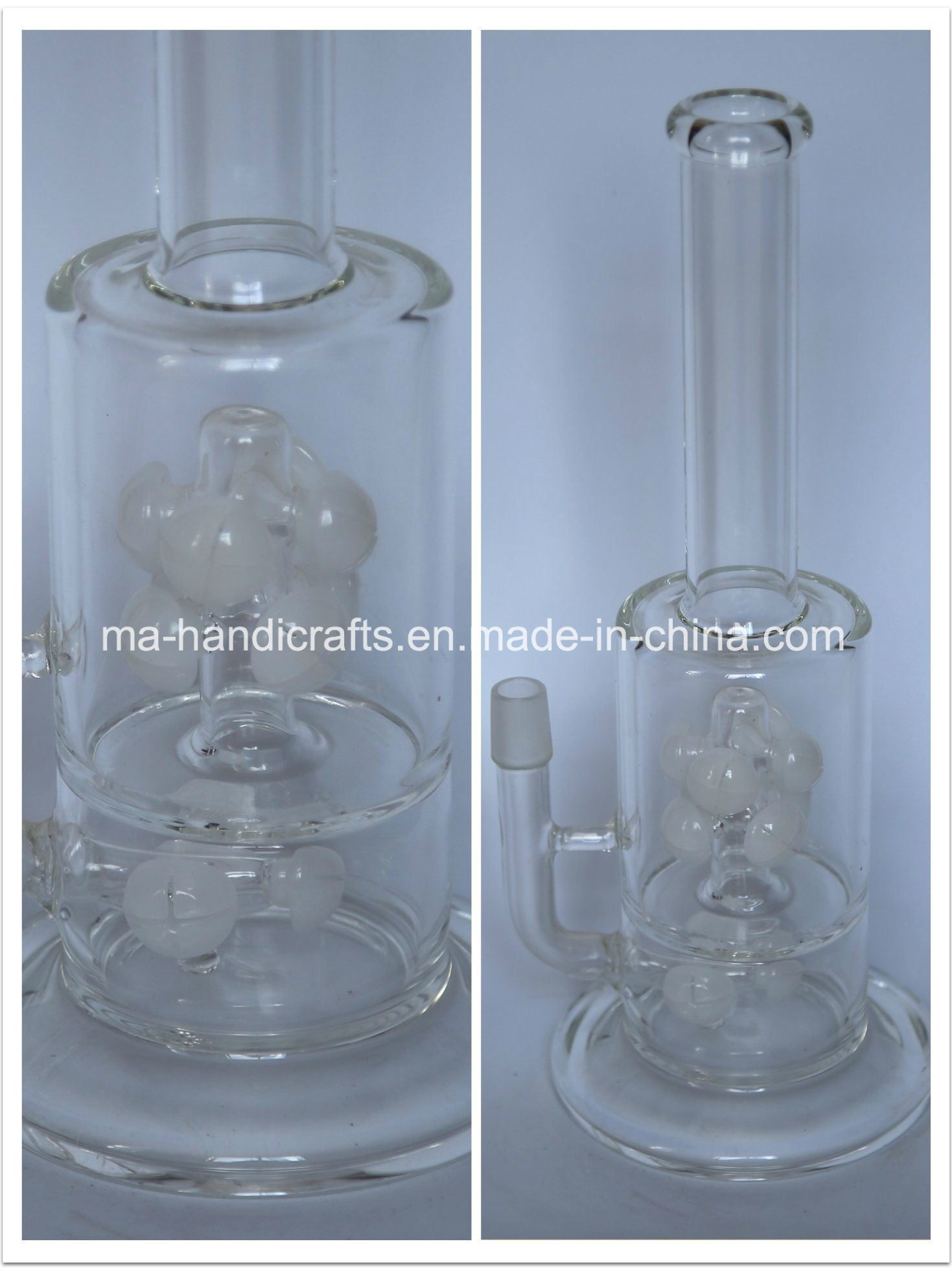 "14"" Boro Glass Smoking Water Pipe with Milky White Perc"