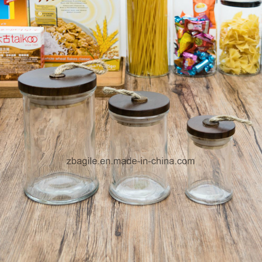 Factory Wholesale High Quality Nature Wood Lid Food Candy Storage Glass Jar (100028)