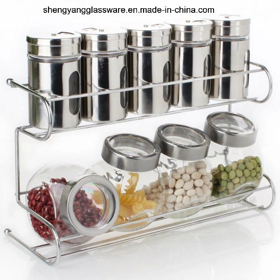 Hot Sell 9 PCS Sets Glass Bottle/ Glass Spice Jar with Metal Shelf for Kitchenware