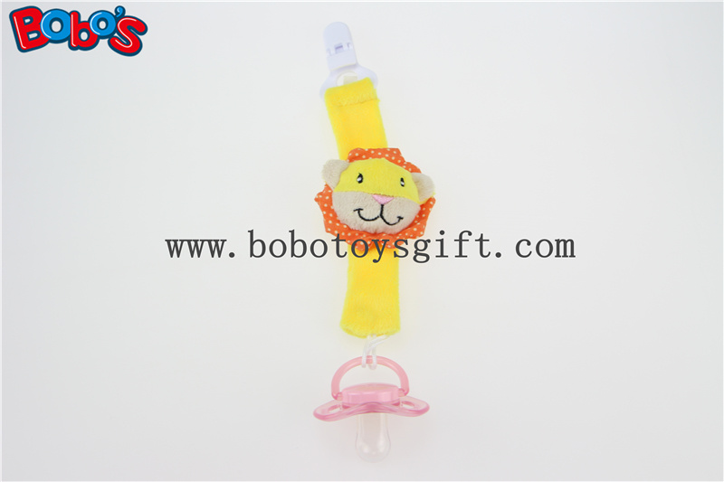 Plush Yellow Lion Infant Toys Baby Pacifier Clip Soother Holder for Baby Bosw1051