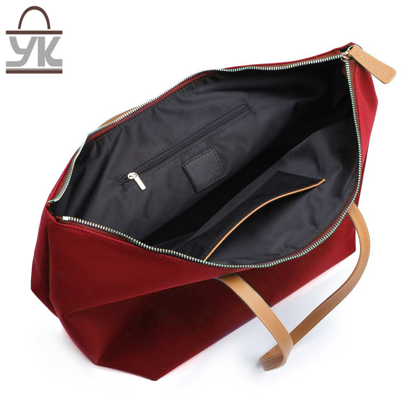 Red Fashion Contrast Color Nylon Women Handbag