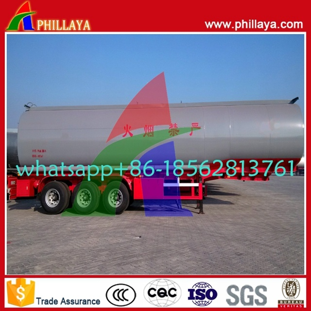 Tri-Axles Capacity 35-60cbm Semi Trailer Asphalt Bitumen Heating Tank