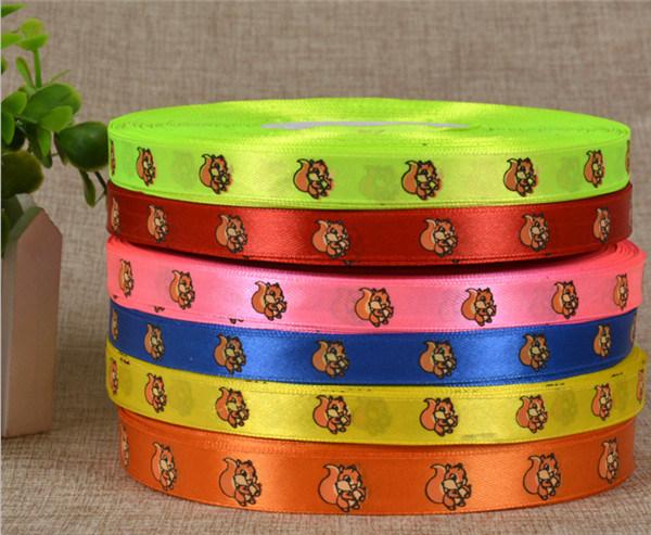 Woven Edge Custom Logo Designs Printed Satin Ribbon