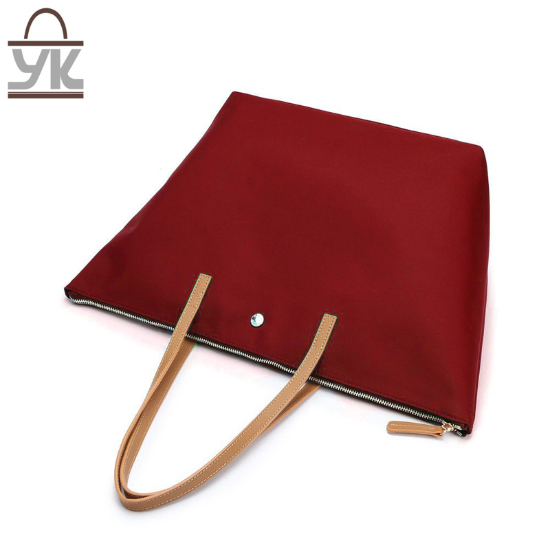 Red Fashion Contrast Color Nylon Women Handbag