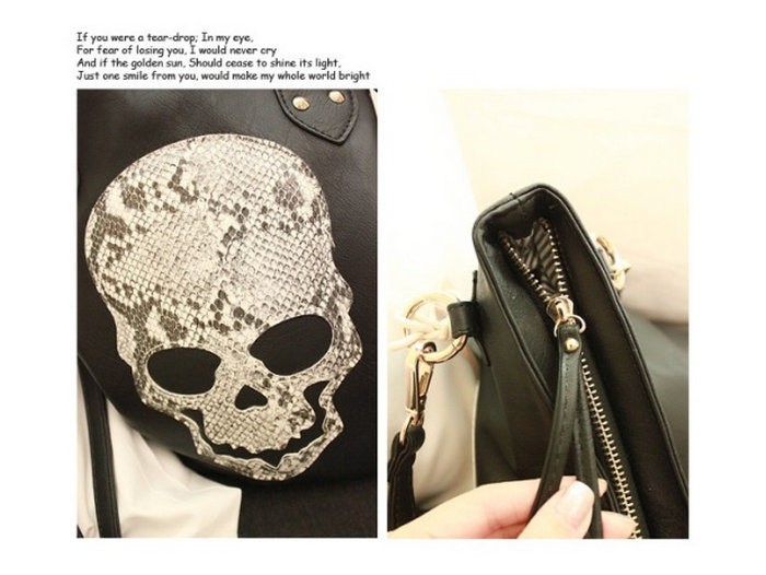 Special Design Ladies PU Leather Skull Handbag Manufacture