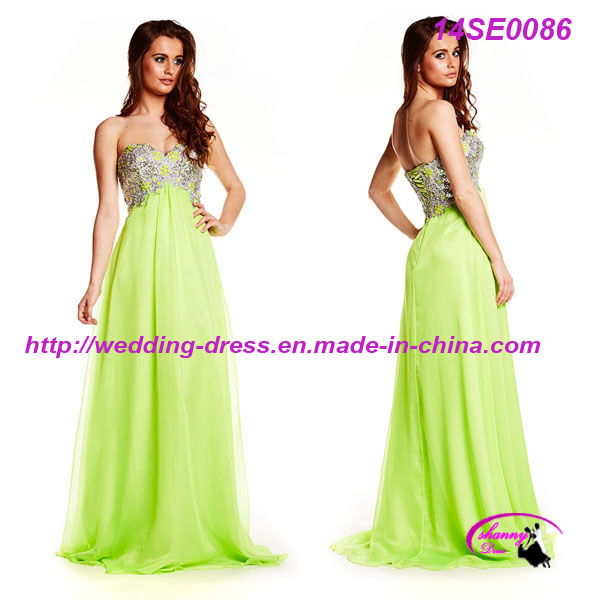 Full Length Green Sexy Prom Dress with Beading