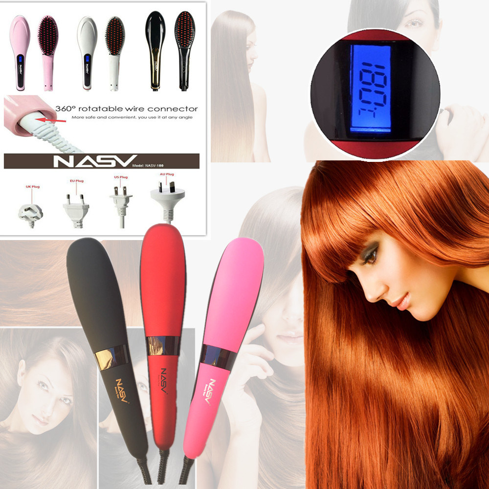 New Beauty Star Nasv300 LCD Hair Straightener Brush with Ionic Function