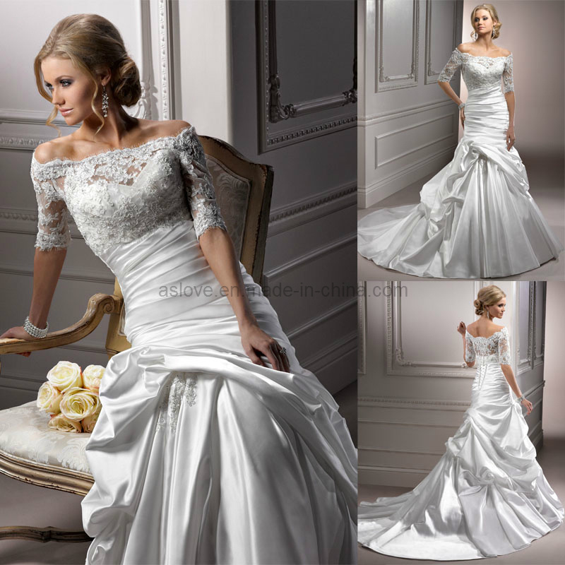 China long sleeve off shoulder satin wedding dress bridal for Silk wedding dresses with sleeves