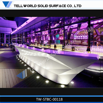 New Design Modern Curved Lighted Night Club Bar Counter/Commercial Bar  Countertops