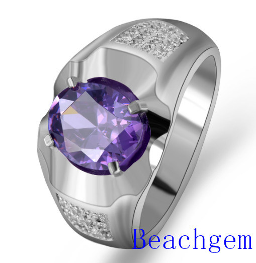 Jewellery-925 Silver Blue Cubic Zirconia Ring for Man (AC225)