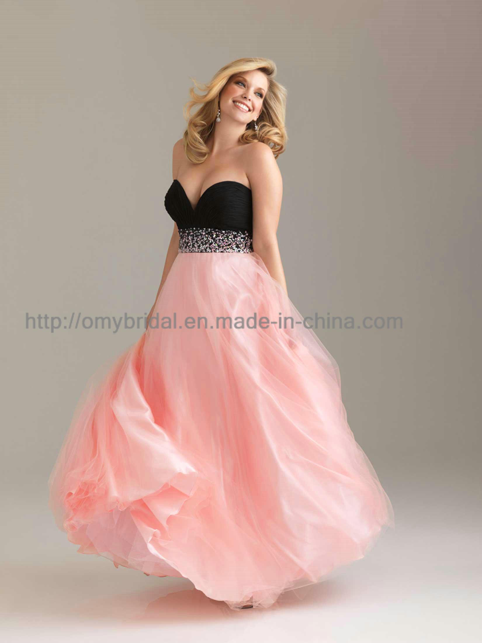 China Pink Plus Size Chiffon Evening Dress NED015