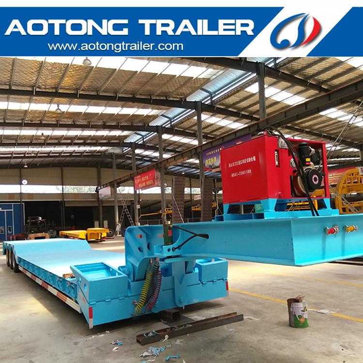 Detachable Heavy Duty Machine Transport Lowbed Goose Neck Semi Trailer