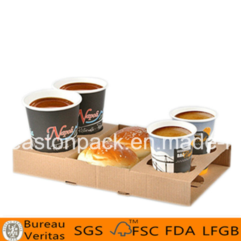 Disposable 4-Cup Paper Coffee Cup Holder Tray