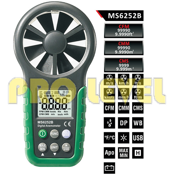 Humidity Tester & Temperature Digital Anemometer (MS6252B)