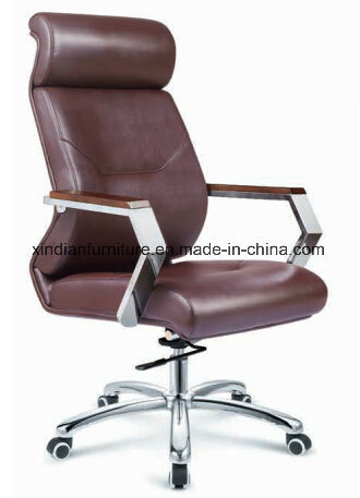 Office Modern Swivel Chair for Boss with Wooden Arm