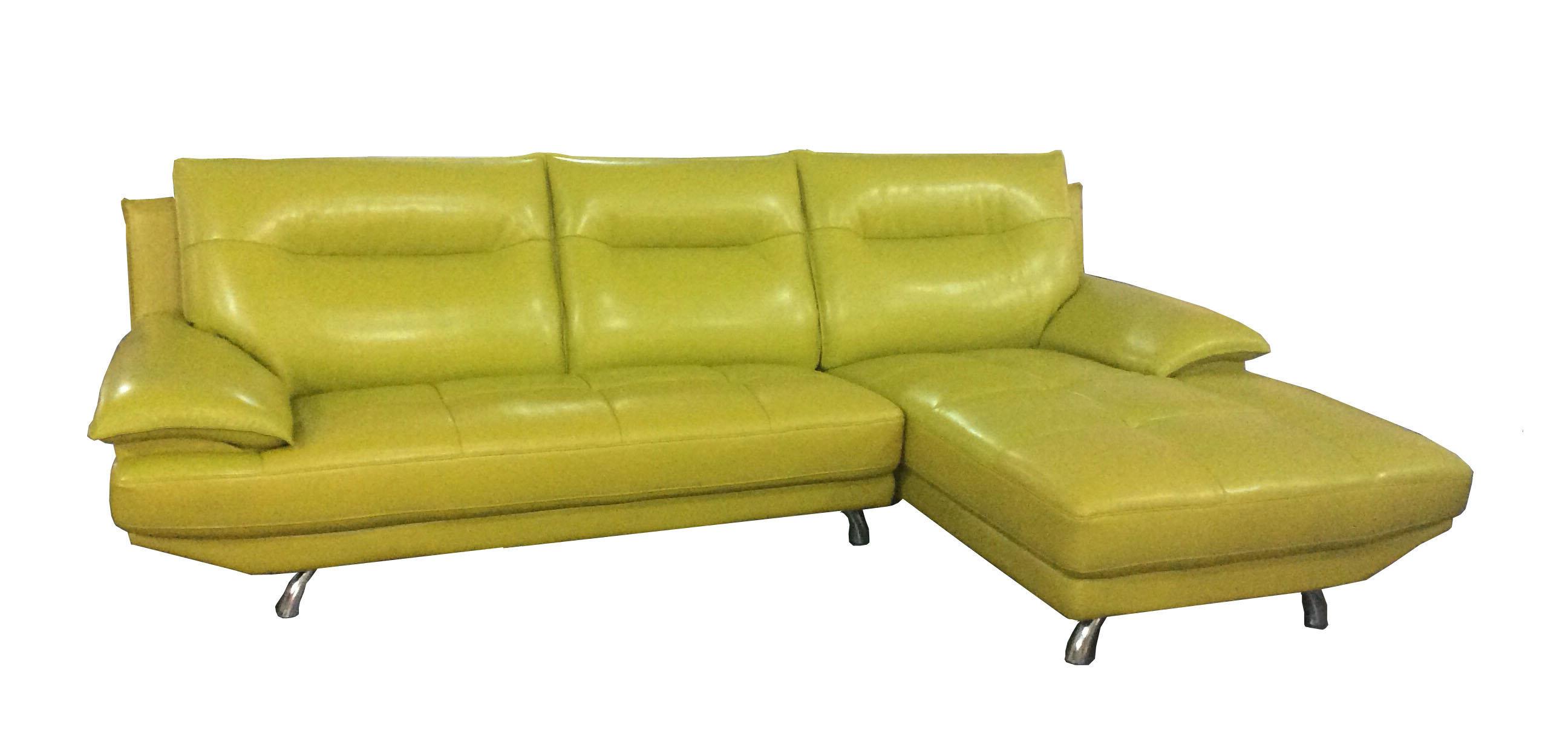 China Lemon Color Modern Genuine Leather Sofa 612 s
