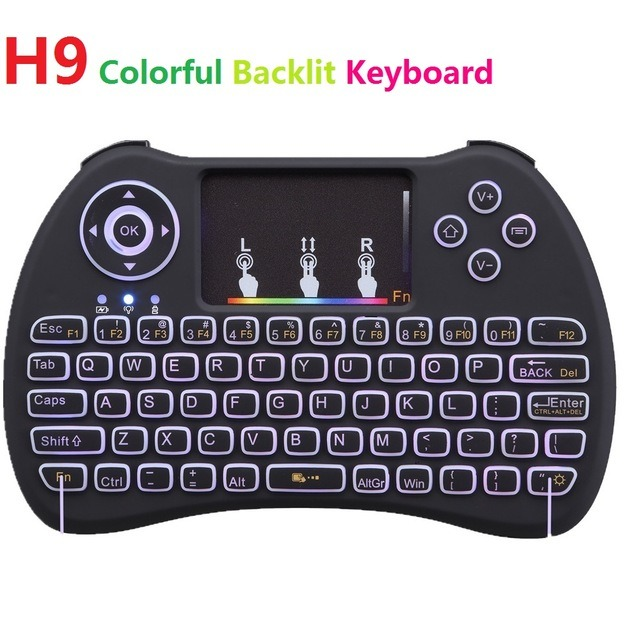 Backlight H9 Colourful 2.4G Wireless English Russian Hebrew Keyboard Backlit with Touchpad for Mini PC Smart TV TV Box Laptop PC