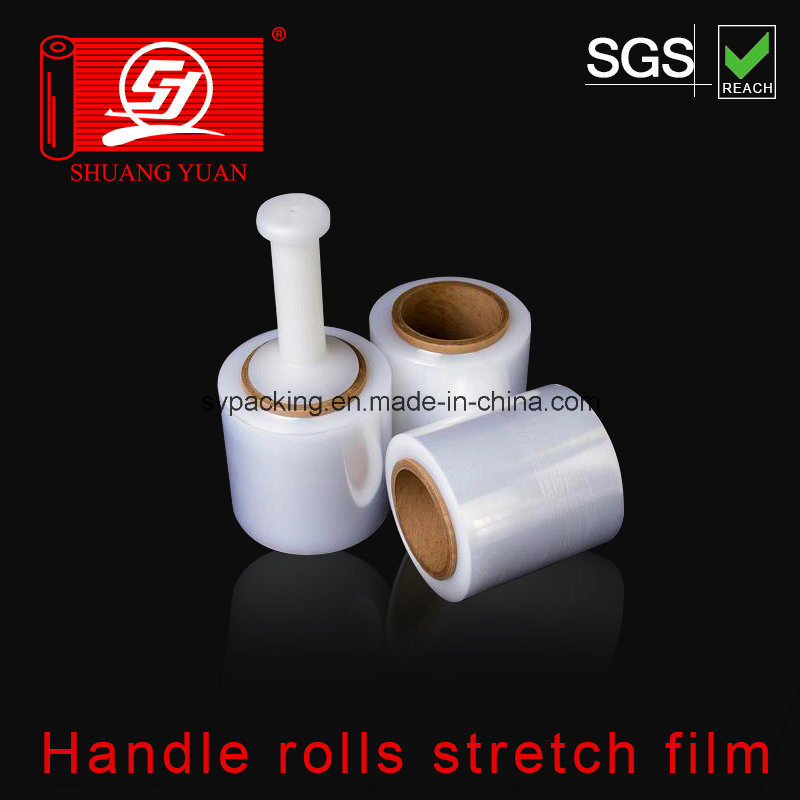 100% Virgin Material Liner Low Density LLDPE Handle Rolls Stretch Film Packing Film