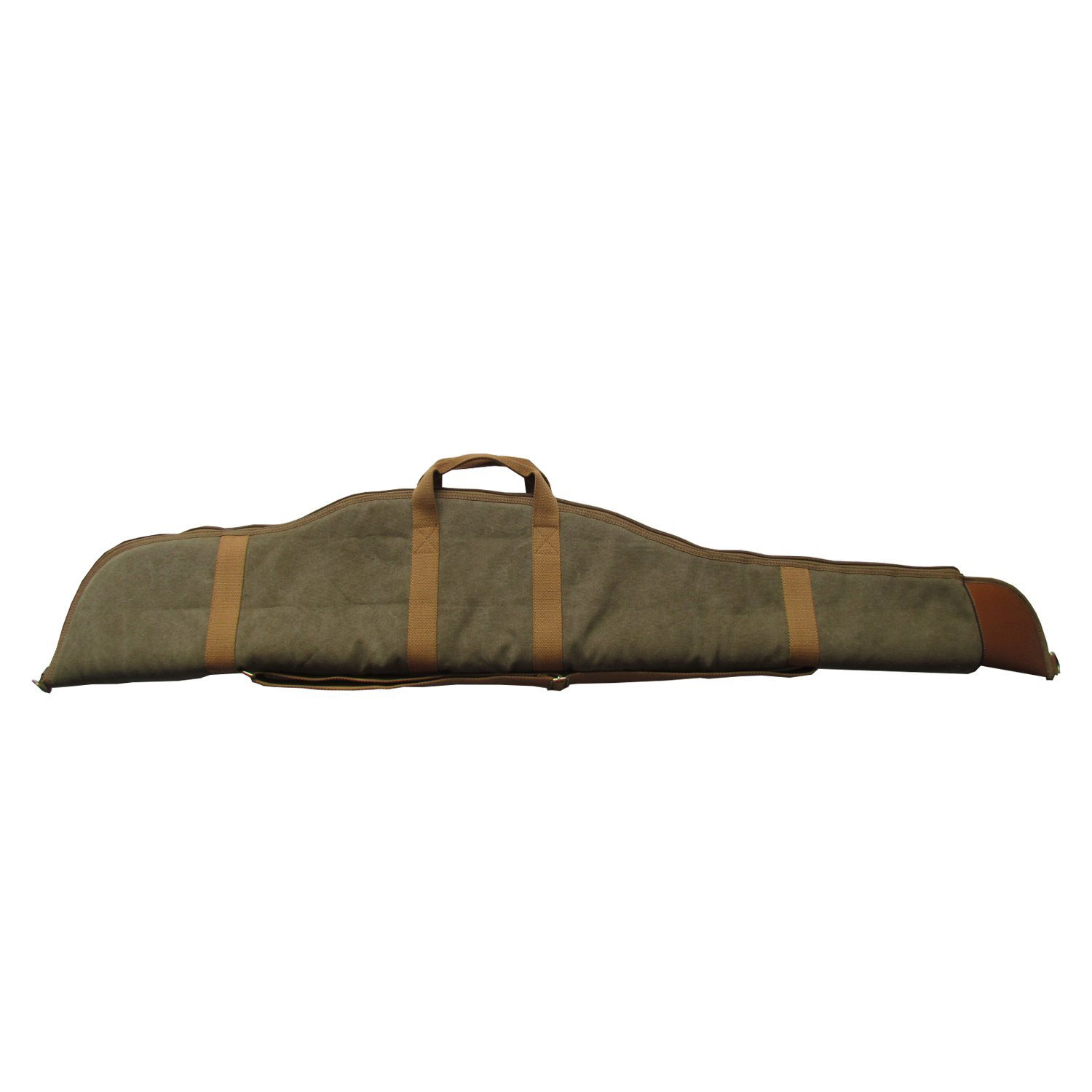 Hunting Canvas Leather Trim Soft Padded Gun Bag Scoped Rifle Case