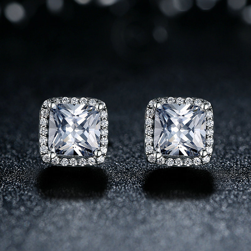 Top Sellers Princess Cut Earrings Women 925 Sterling Silver Earrings
